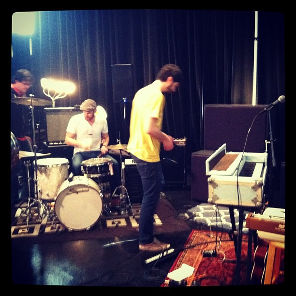 Setting up at CIMU. Yep, that's Joseph on the drums.