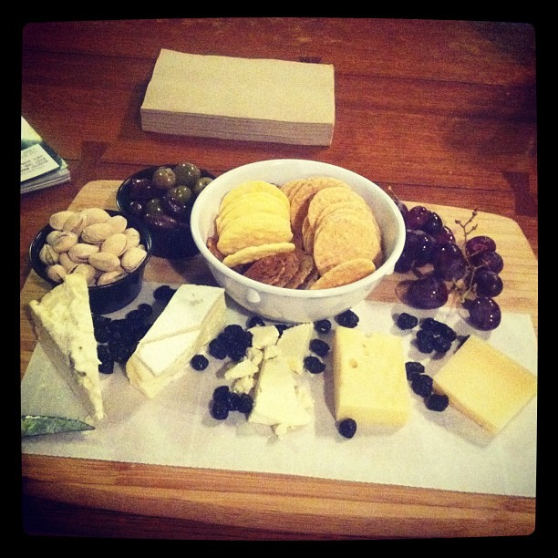 At The Lantern in Sibley about to consume the most amazing cheese plate I've ever seen.